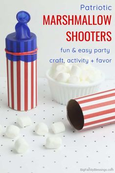 DIY Patriotic Marshmallow Shooters - When it comes to celebrating all the patriotic holidays this summer, these DIY Patriotic Marshmallow Shooters are sure to make all the children in your life happy. Make this easy craft and then send your kids outside to shoot mini marshmallows at each other to their hearts content. #4thofjulycraft #memorialdaycraft #memorialdayactivity #independencedayactivity #4thofjulyactivity #patrioticcraft #patrioticactivity Independence Day Activities, Memorial Day Activities, Fun Activities For Kids, Summer Crafts, Diy Crafts For Kids, Easy Crafts, Craft Ideas, Holiday Crafts, Holiday Fun