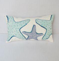 aqua blue and cobalt starfish on off white by Comfyheavenpillows, $34.50