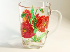 Red Poppies Mug hand painted mugs Colorful by StainedGlassHandmade