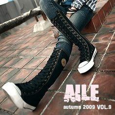 Women Black Punk EMO Rock boots shoe sneaker knee high,Canvas Lace Up Boot   eBay