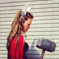 Pin for Later: The Most Badass Lady Thor Costume Ideas This is some crazy viking hair. Love that the crown is clipped right onto her braid. Thor Cosplay, Costume Thor, Female Thor Costume, Thor Halloween Costume, Superhero Costumes Female, Villain Costumes, Superhero Cosplay, Superhero Costume Ideas, Superhero Halloween
