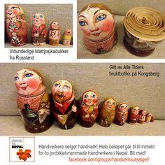 Du som ikke lager noe selv, kan selvsagt også støtte saken. her har vår vakreste bruktbutikk.. Alle Tiders på Kongsberg (du finner den på Facebook, og midt i Kongsberg sentrum) gitt de herligste russiske kone i kone dukker. Vil ha!