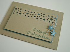 Stampin' Up! a very simple but elegant card to recreate . Holiday Cards, Christmas Cards, Stampin Up Weihnachten, Star Cards, Birthday Cards For Men, Card Making Inspiration, Paper Cards, Cool Cards, Flower Cards