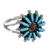 Turquoise Coral Needlepoint Authentic Sterling Silver Ring Size 8 UX84449