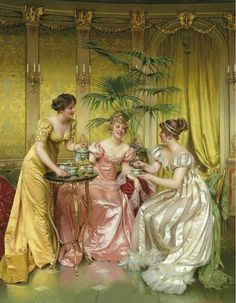Charles-Joseph-Frédéric Soulacroix (1825-1879) Afternoon Tea for Three