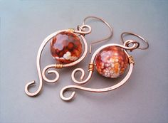 Wire Wrapped Earrings Copper and FireCrackle Agate by GearsFactory, €16.00