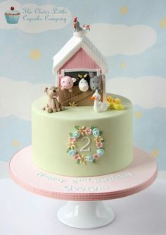 Pink Barn Cake by The Clever Little Cupcake Company (Cake Decorating Animals) Farm Birthday Cakes, Animal Birthday Cakes, Birthday Cake Girls, Birthday Ideas, 3rd Birthday, Farm Animal Cakes, Animal Cakes For Kids, Farm Animals, Barn Cake