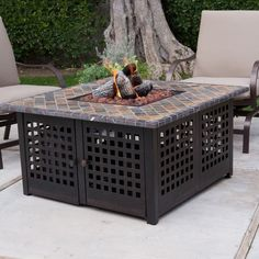 Propane Gas Outdoor Fire Pit with Handcrafted Tile Ceramic Log Lava Rock #firepit #outdoorfireplace #firebowl