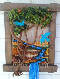 Loom tree and birds Weaving Textiles, Weaving Art, Tapestry Weaving, Loom Weaving, Hand Weaving, Twig Crafts, Diy Arts And Crafts, Yarn Crafts, Twig Art