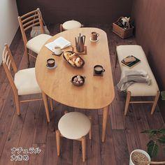 ダイニング4点セット Dining Room Small, Dinning Table Design, Dining Room Bench Seating, Space Saving Dining Table, Small Dining Table, Interior Design Rustic, Dining Table Chairs, Interior Design Living Room, Dining Table Design