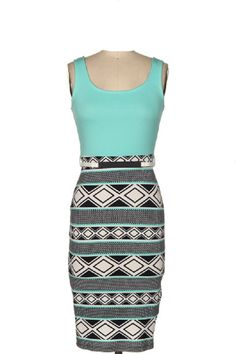 LJIF Mint Aztec Bodycon Sexy Spring Dress Women's Fitted (Large) | AmazonSmile
