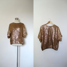 1970s Sequined Blouse / 70 Slouchy Copper Top by lapoubellevintage, $25.00