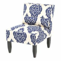 "Ikat damask accent chair with a pine wood frame and foam padding. Handmade in the USA. Product: Chair  Construction Material: Wood, metal, polyfoam padding, and cotton   Color: Blue and cream    Features: Pillow includedHandmade in the USA      Dimensions: 33"" H x 25"" W x 32"" D  Note: Assembly required. Hardware and instructions included."