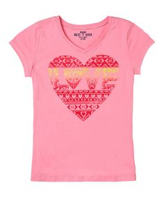 Another great find on #zulily! Pink Geometric Heart 'Love' Tee - Girls by RUUM #zulilyfinds