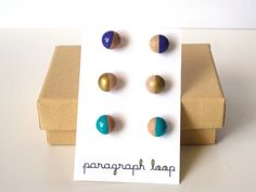 Purple, gold and turquoise earring set