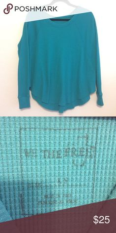 We the Free Teal blue top Sz XS Thermal material. Very soft. Like new. Teal blue color. Free People Tops Tees - Long Sleeve