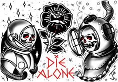 Die alone tattoo flash #die #alone #diealone #tattooflash #traditional #tattoo #tradtattoo #traditionaltattoo #trad #tat #ink #blacktattoo #wacomart #sketchbookpro #wacomtattoo #olomouctattoo #astronauttattoo #scubadivertattoo