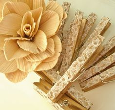Set Of 6 Antiqued Lace Covered Clothespins 5.50 by TheFrenchNestCo