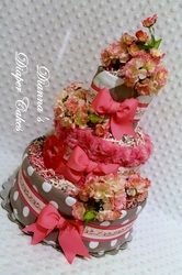 Cherry Blossoms Baby Diaper Cake by Dianna's Diaper Cakes Shower Gifts or Centerpieces