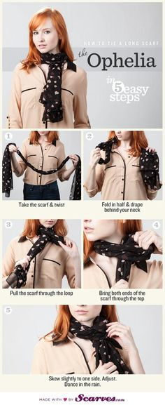 How To Tie a Long Scarf - the Ophelia.tons of scarf tying tutorials Ways To Tie Scarves, Ways To Wear A Scarf, How To Wear Scarves, Diy Fashion, Fashion Beauty, Fashion Outfits, Fashion Tips, Fashion Scarves, Head Scarf Tying