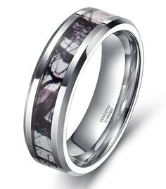 Men's Tungsten Dome Ring Forest Camouflage Camo Real Tree Promise Wedding Band