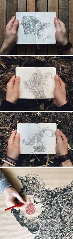 A Peek Inside Ivan Belikov's Sketchbooks of Intricate Birds & Beasts