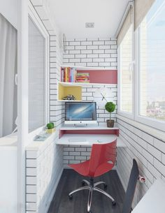 Small And Cozy Workspace At Balcony