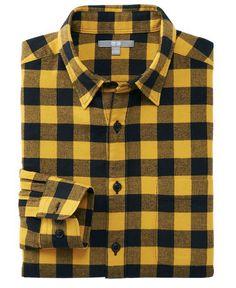 yellow-buffalo-check-plaid-flannel-shirt-for-men-2016