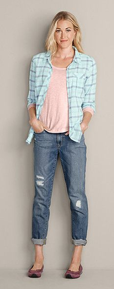 Pair these items for a cool, casual look: Packable Long-Sleeve Shirt, Essential Slub Long-Sleeve Scoop-Neck T-Shirt, Boyfriend Slim Jeans in Rustic Wash & Eddie Bauer Christine Ballet Flat #EddieBauer