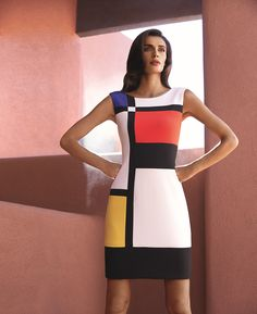 Short shift dress with multi-coloured design - Catherines of Partick Casual Dresses, Short Dresses, Fashion Dresses, Mondrian Dress, Mondrian Art, Mode Pop, Joseph Ribkoff Dresses, Colorblock Dress, Designer Dresses