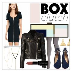 """Box Clutch"" by cadetartemis ❤ liked on Polyvore featuring HEATHER OFFORD, Amorium, Express, Avenue, Christian Louboutin, Balmain, Smashbox, Saskia Diez, ChloBo and women's clothing"