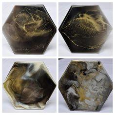 Black, White & Gold- Resin Art Coasters Black White Gold, Resin Art, Coasters, Art Pieces, Gems, Shapes, Handmade, Hand Made, Coaster
