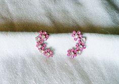 Vintage Earrings Pink and Clear Rhinestone Screw Back Wedding Bride Bridal…