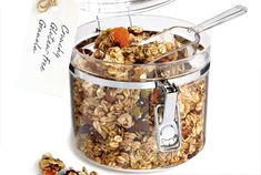 Pumpkin Pie Granola. Stir together oats, cereal, pepitas, pecans, sunflower seeds & flaxseeds. In saucepan over medium heat, cook brown sugar, maple syrup, oil, cinnamon, ginger, cloves & salt, stirring, until sugar is dissolved, about 3 minutes. Pour over oat mixture, tossing to coat. Spread on 2 parchment paper–lined baking sheets. Bake in top and bottom thirds of 325ºF oven, switching & rotating pans halfway through and stirring twice, until crisp and golden, 30 to 35 minutes.