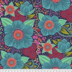 Anna Maria Horner - Hindsight Fabric - Honorable Mention Wide Backing - Turquoise - Free Spirit Fabrics wide Cotton Sold by the half yard. Turquoise Quilt, Different Kinds Of Flowers, Anna Maria Horner, Free Spirit Fabrics, Anna Marias, Dark Blue Background, Quilt Kits, Shades Of Turquoise, Quilt Top