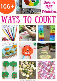 There are SO many ideas and free printables for counting inside, outside, with play dough, snacks, books, the list goes on. You'll find links to hundreds of ideas here!