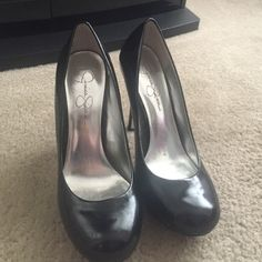 Jessica Simpson Black Pumps Lightly worn but in overall good condition. Leather Upper (see last photo). Jessica Simpson Shoes Heels