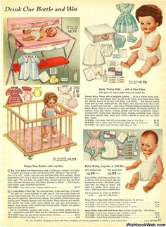 Vintage Sears Catalog page with dolls and accessories Christmas Catalogs, Christmas Books, Vintage Christmas, Christmas History, Photo Vintage, Vintage Love, Vintage Advertisements, Vintage Ads, My Childhood Memories