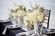 More ideas for the wedding! Slate Gray + white or ivory/cream + Hunter Green