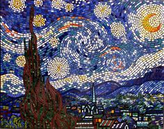 """Starry Night"" mosaic wall mural created with ceramic tiles"