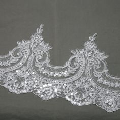 Per 1/2 Meter - Sequin Lace trim,lace applique, Wedding bridal lace, White/Off White embrodiery lace,Dress Lace applique trim, Veil lace