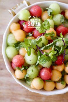 #fruit, #honey, #watermelon, #recipe, #salad, #mint, #melon  Photography: Rikki Snyder - rikkisnyder.com  Read More: http://www.stylemepretty.com/living/2014/03/27/mint-melon-salad/