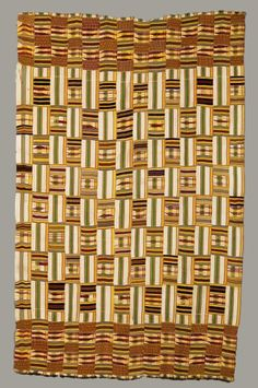 Africa | Kente from the Ewe people of Ghana | Silk and cotton | ca. early to mid 20th century
