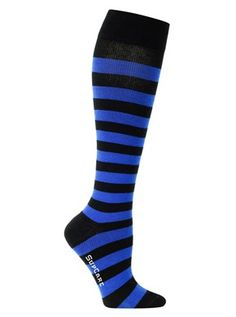 Compression stockings with blue stripes