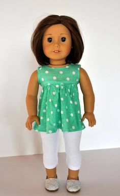 Doll Clothes for 18 inch American Girl Yellow /& Green Striped Knit Leggings