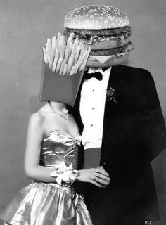 black and white, couple, lovers, french fries, burguer, perfection