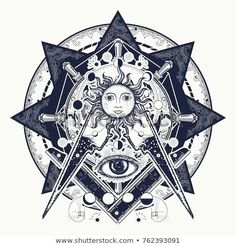 All seeing eye. Alchemy, medieval religion, occultism, spirituality and esoteric. Mysteries of knowledge of mankind. Masonic symbol tattoo and t-shirt design; compre este vectores en stock en Shutterstock y encuentre otras imágenes. Masonic Tattoos, Symbol Tattoos, Occult Symbols, Masonic Symbols, Bull Tattoos, Black Tattoos, Esoteric Tattoo, All Seeing Eye Tattoo, Alchemy Tattoo