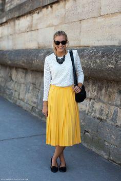 Skirt + top + ballet flats or pumps.