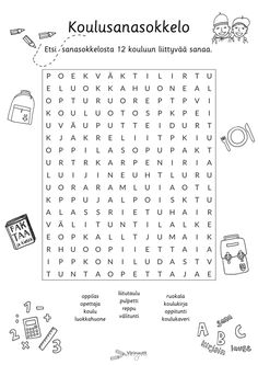 Koulu - Värinautit Finnish Language, Hidden Pictures, Worksheets, Teaching, Education, School, Hama, Learning, Educational Illustrations