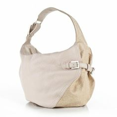 Bracher Emden Cream Slouchy Bag Cream textured lamb leather with Ostrich effect detailing. Zip closure and buckle detail on front. Cotton lining. Materials Lambs Leather Dimensions H 28cm W 35cm HH 32cm Price $855.09